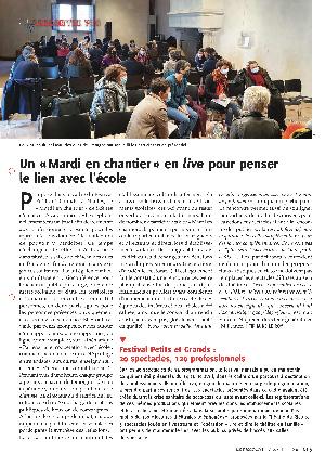 Une page du journal Le piccolo sur la réunion des Mardis en chantiers au festival Petits et grands